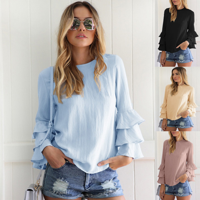 Back Button Hollow Out Blouses 2018 Sexy Autumn Thin Long Fold Sleeve - cover photo