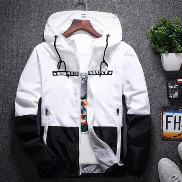 New Spring Autumn Bomber Hooded Jacket Men Casual Slim Patchwork Windbreaker Jacket - cover photo