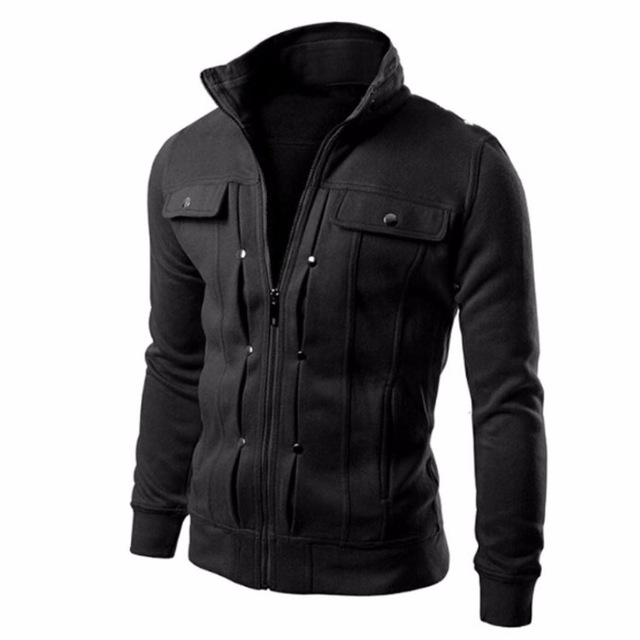 Autumn Winter Men Jackets Coat Stand Collar Slim Designed Lapel Zipper